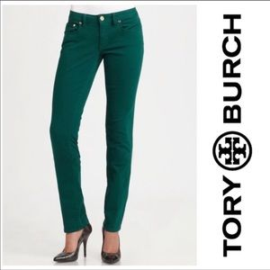 Tory Burch 'Ivy' Super Skinny Green Jeans size 27